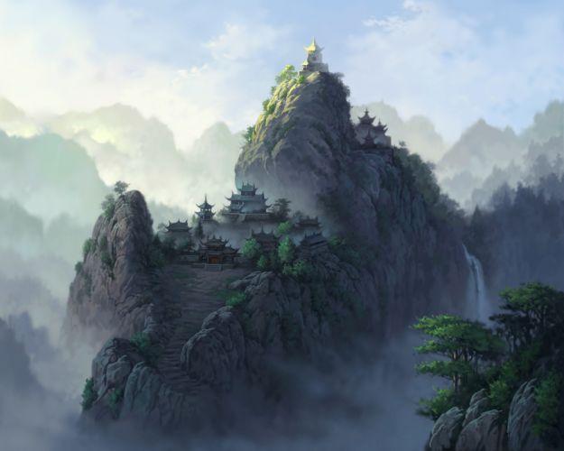 landscapes castles asian oriental mountains waterfalls trees sky fog wallpaper
