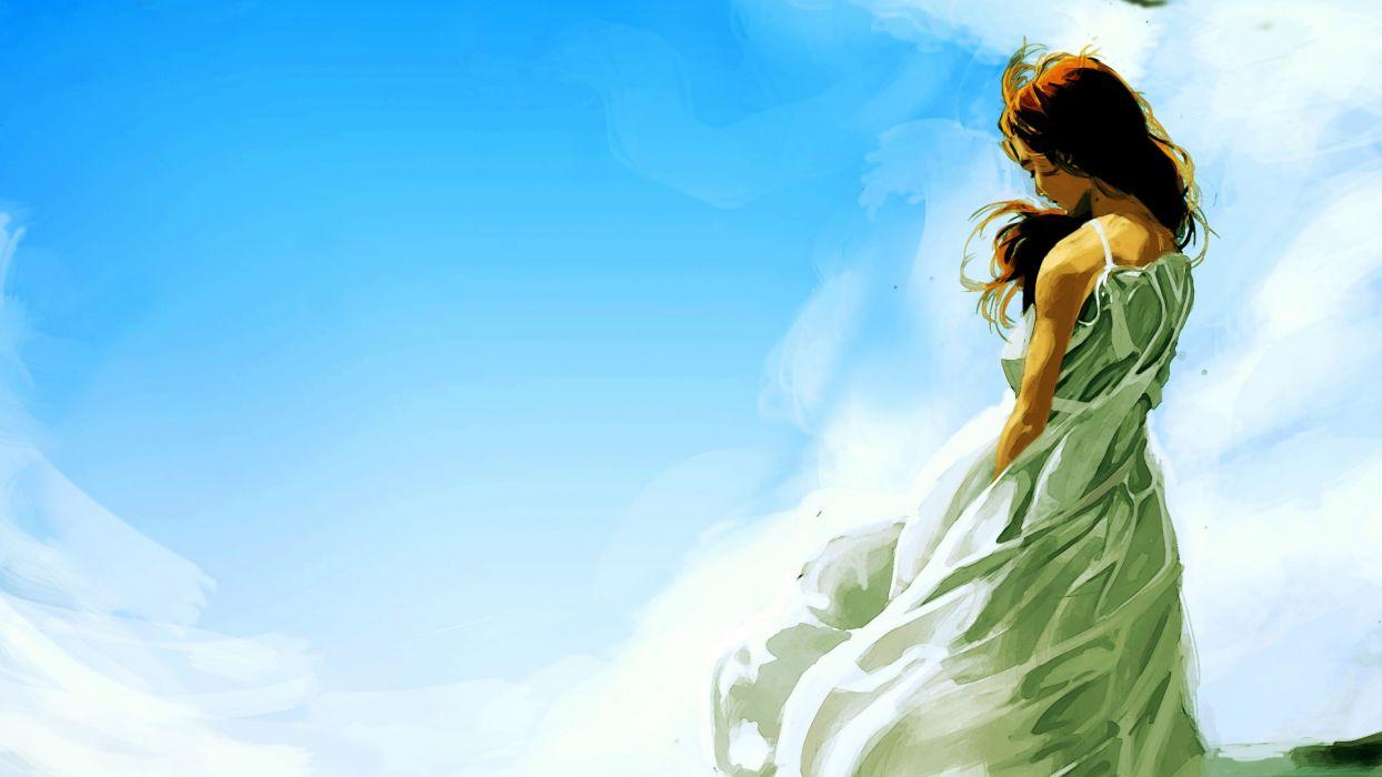 art mood women redheads babes sky wallpaper