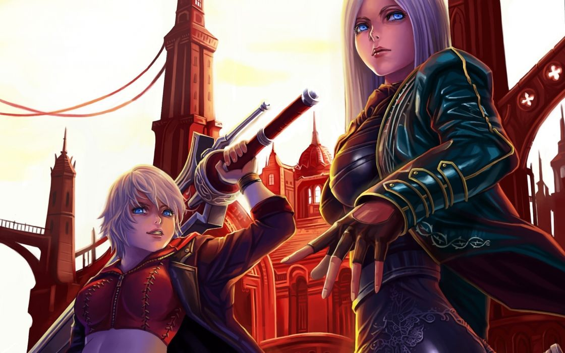 devil may cry fantasy weapons swords girl boy wallpaper