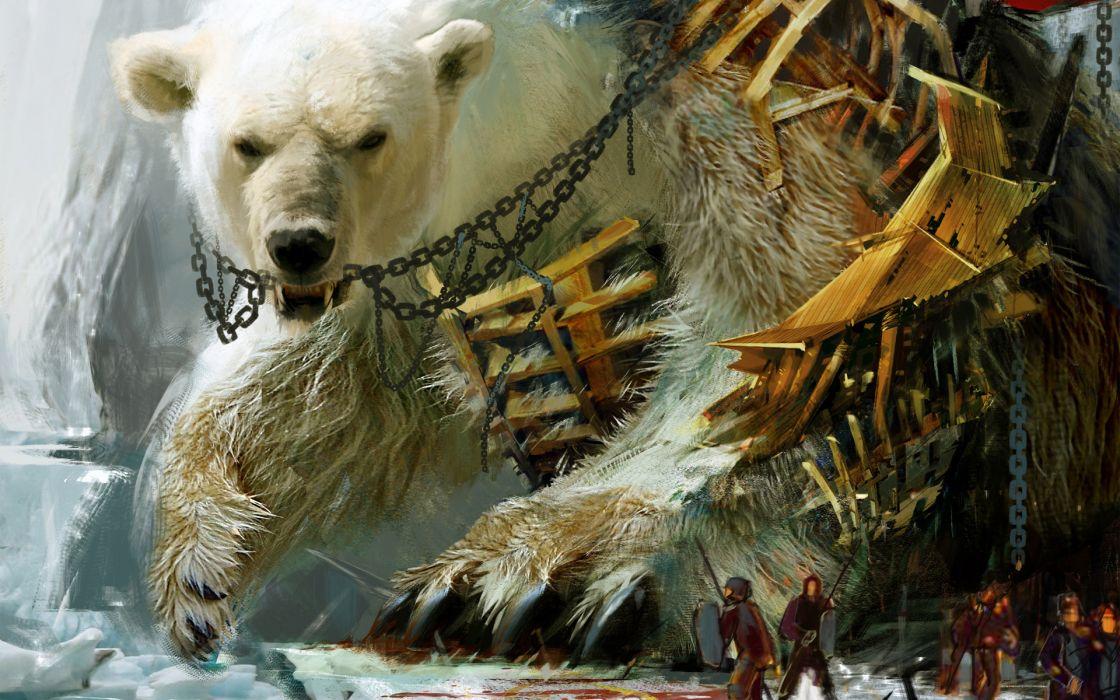 Guild Wars fantasy battles polar bears wallpaper