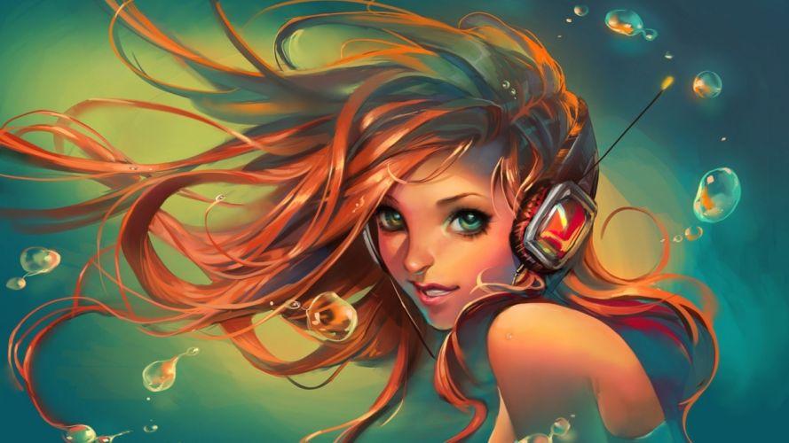 women females girl art headphones wallpaper