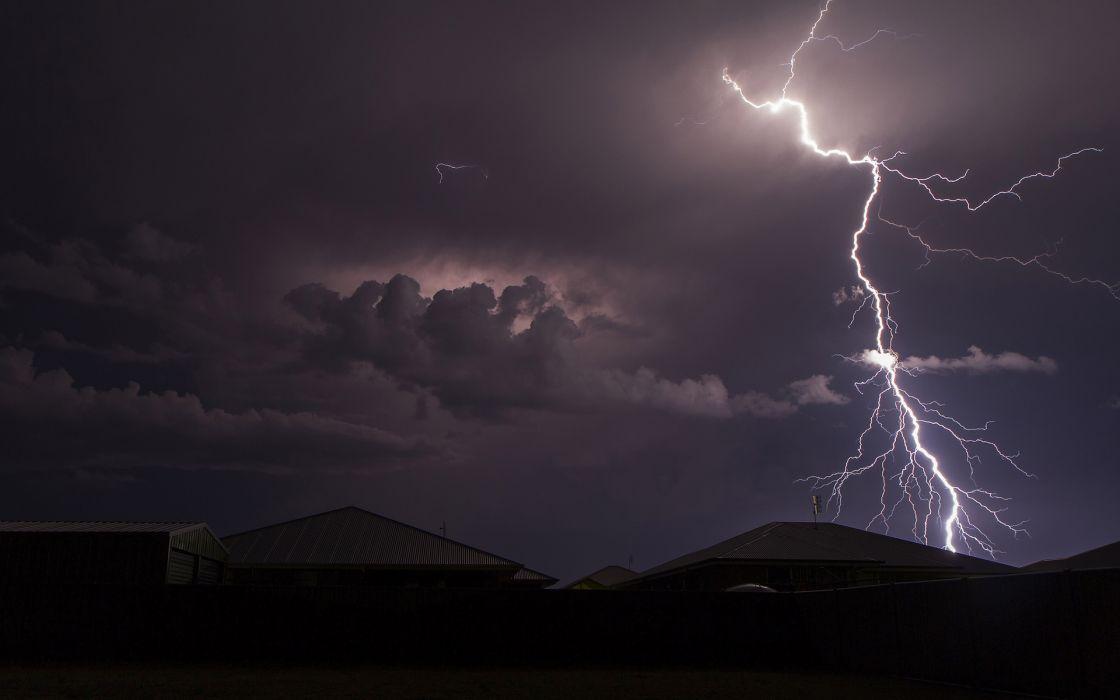 storm lightning rain night wallpaper