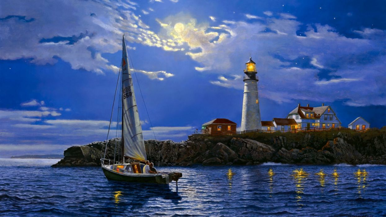 art paintaings love romance sailing boats architecture lighthouse night mood sky clouds moon wallpaper
