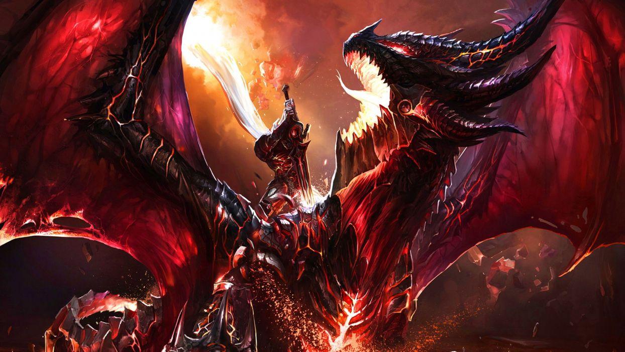 Dragonslayer Art fantasy warriors dragons battle wallpaper