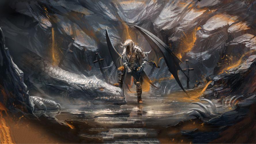 warriors dragons weapons sword wallpaper