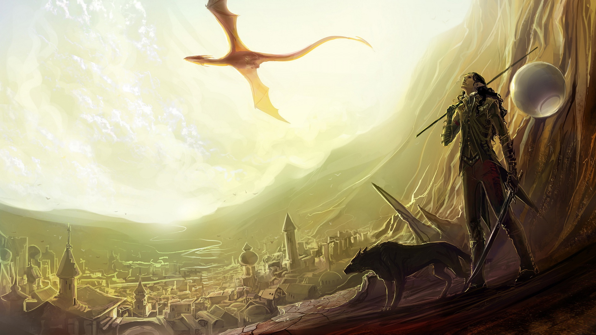 dragons landscapes cities women girl elf wolf wolves