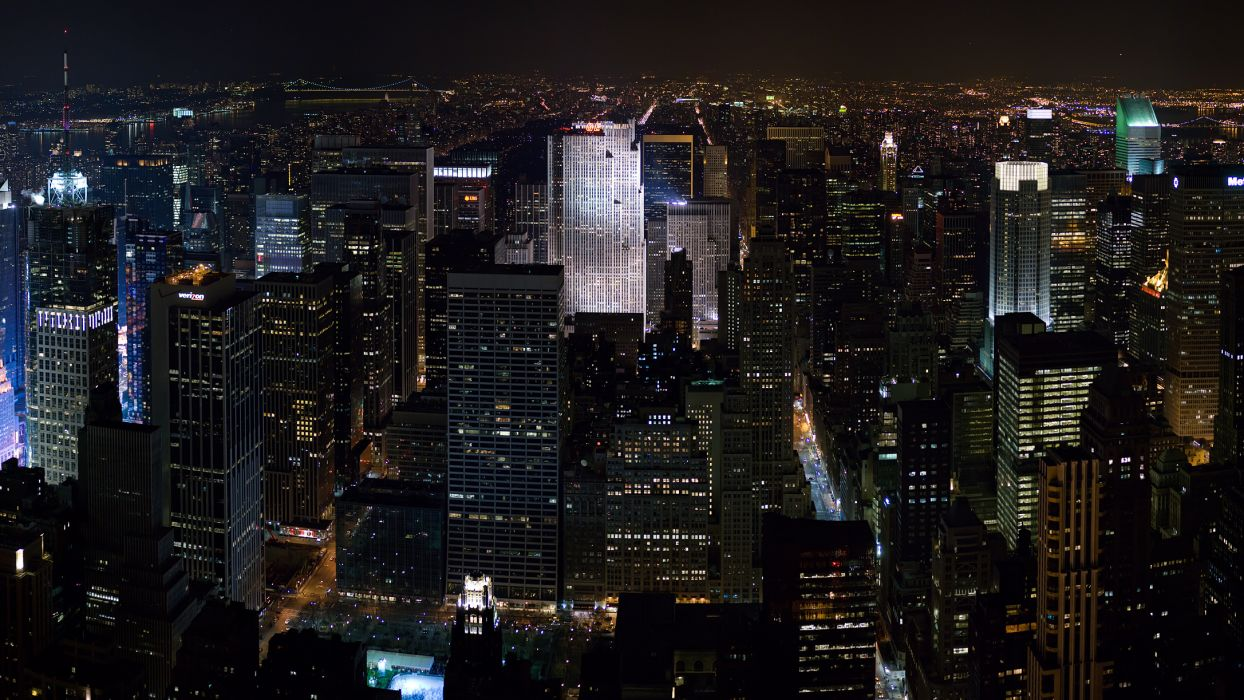 New York architecture buildings skyscrapers night lights skyline cityscape wallpaper