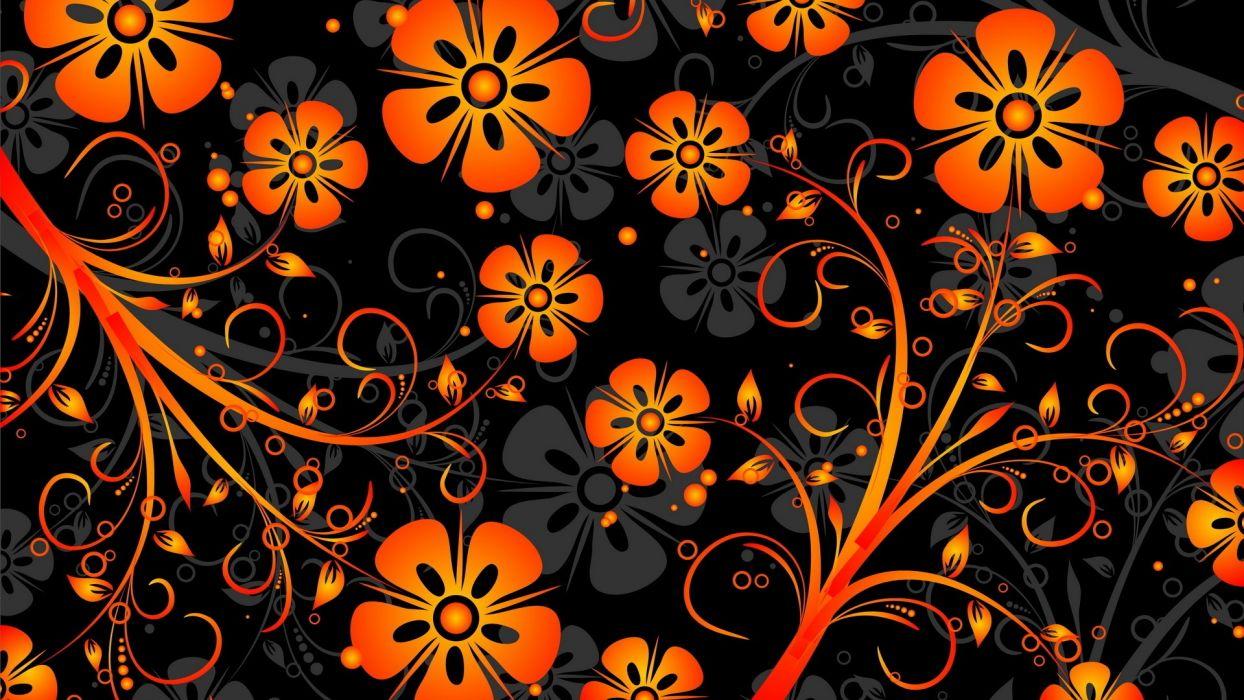 Orange Flowers Texture vector abstract wallpaper