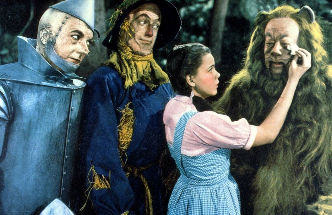 The Wizard of Oz Judy Garland fantasy robots lions actress women females girls retro classic wallpaper