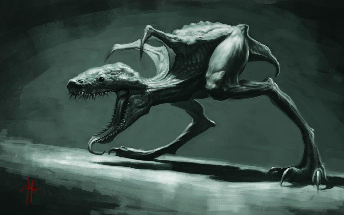 dark fantasy dinosaur monster creature wallpaper
