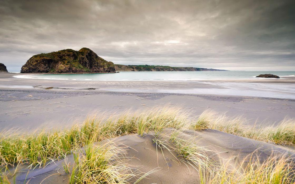 nature landscapes beaches sand grass shore coast ocean sea sky clouds wallpaper
