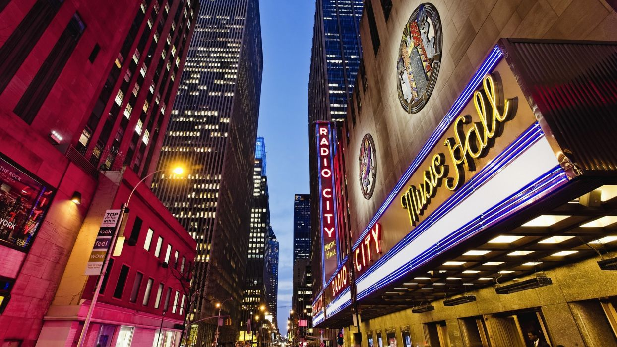 new york cities architecture buildings signs lights skyscrapers wallpaper