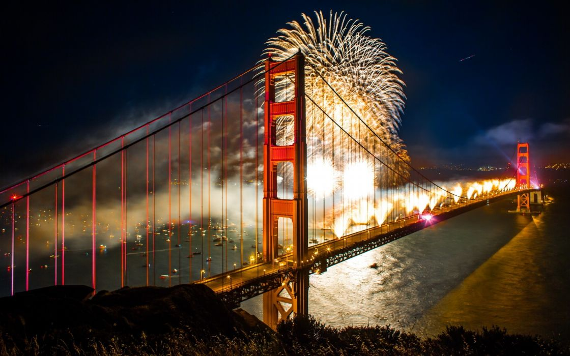 san francisco goldegate bridge architecture night lights holidays july new year bay boats reflection wallpaper