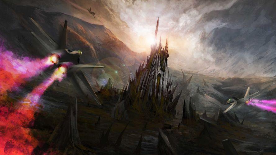 sci-fi futuristic fighter jets military castles sky wallpaper