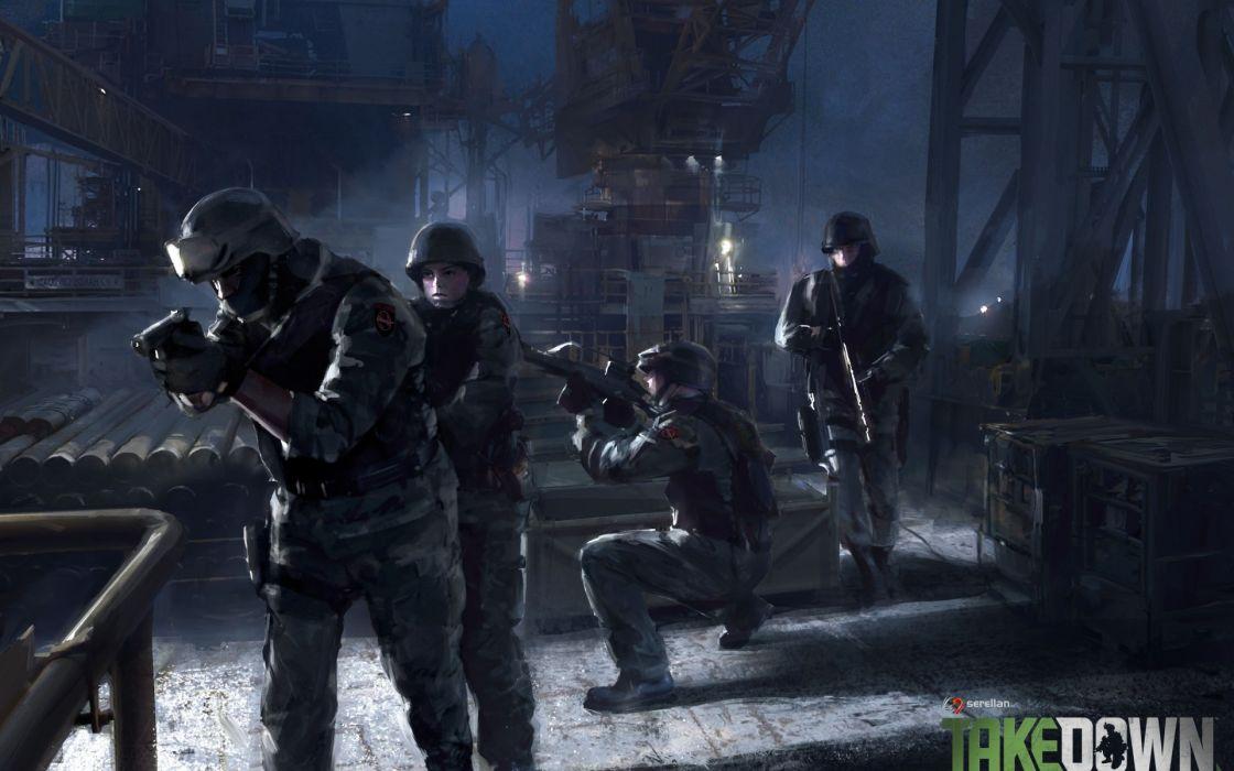 Takedown soldiers police swat street night weapons guns wallpaper