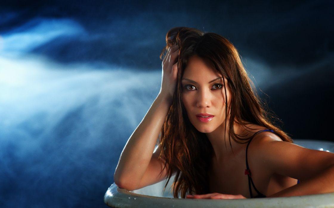 women models redheads sexy babes bath face eyes pov wallpaper