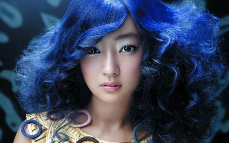 asian oriental glam blue hair style women models babes face eyes pov wallpaper