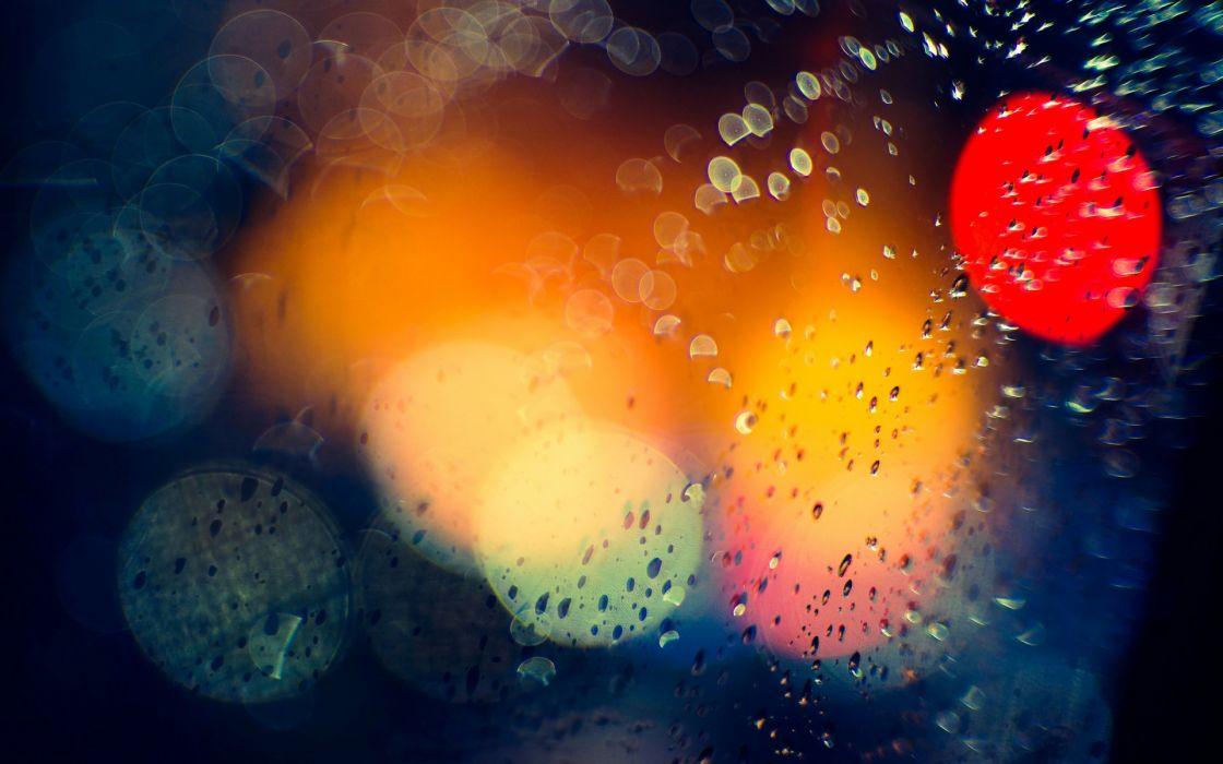 bokeh drops rain lights window glass water color wallpaper