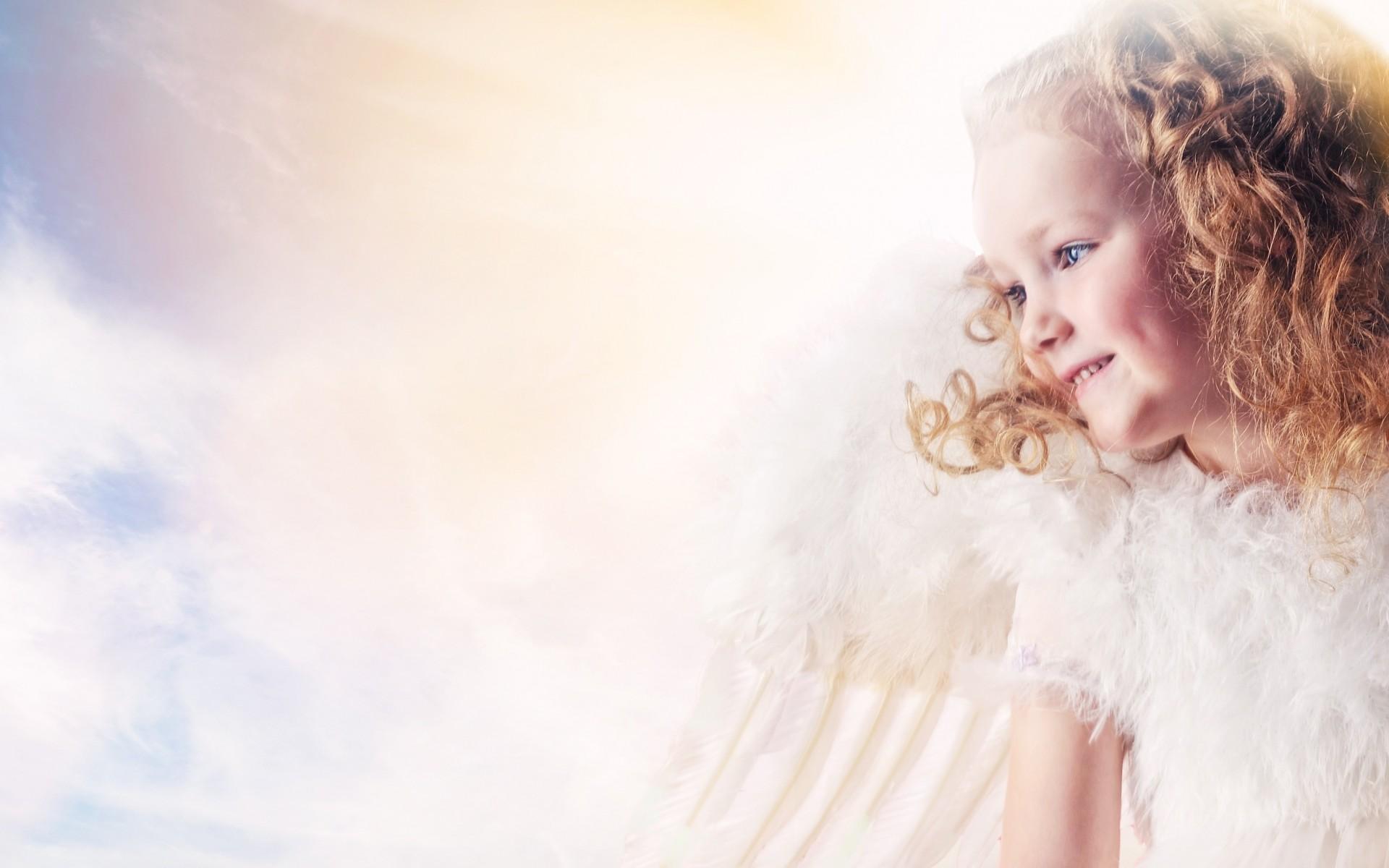 children girls females angels cute wings mood blondes sky clouds