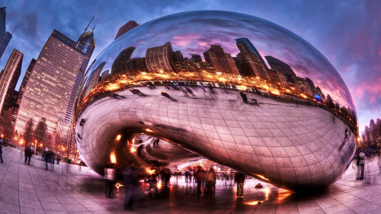 cities Chicago Millennium Park people clouds HDR exposure fish-eye reflection buildings people wallpaper