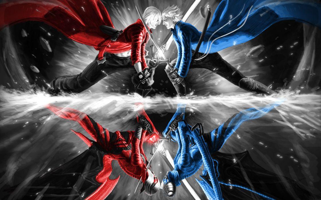 Devil May Cry Dante battle weapons swords men males boys reflection wallpaper