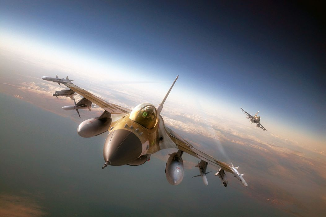 F-16 fighter jets airplane weapons pilot soldiers warriors flight fly sky wallpaper