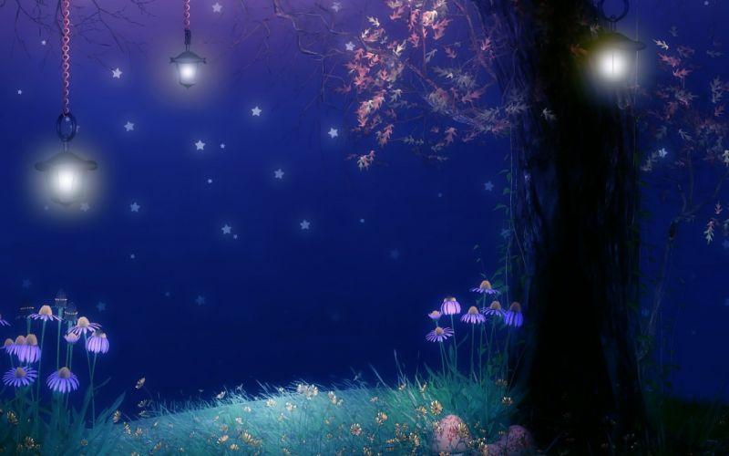 Fantasy landscapes art soft night flowers trees dream sky stars cute lamp light wallpaper
