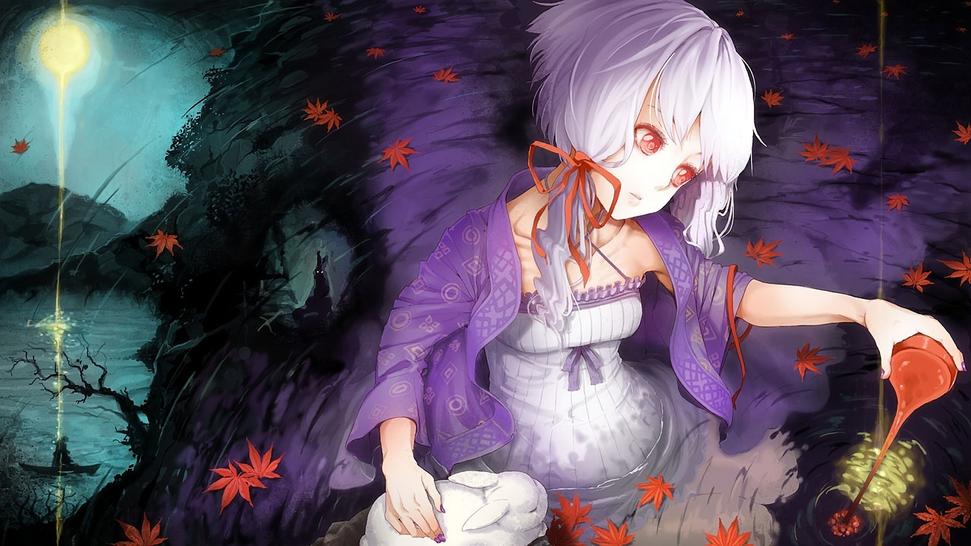 Girl water rabbit leaf moon abstraction anime original wallpaper 1920x1080 38101 wallpaperup