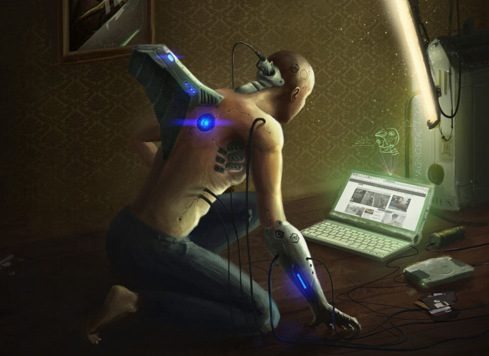 man android wires laptop floppy hard drive cyborg sci-fi futuristic wallpaper
