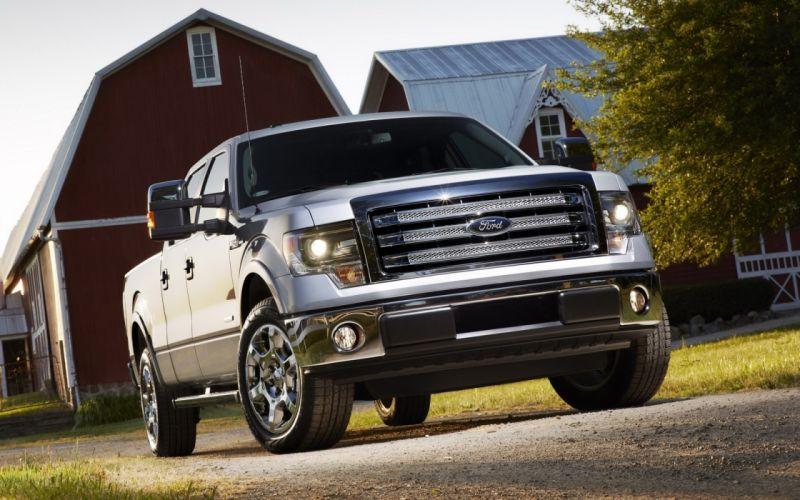 Ford truck barn trees pickups wallpaper
