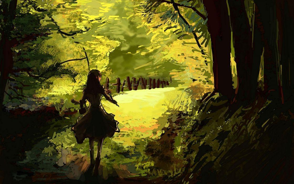 anime original trees forest woods girl females art wallpaper