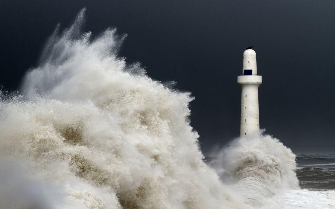 architecture buildings lighthouse ocean sea waves storm sky nature drops spray splash wallpaper