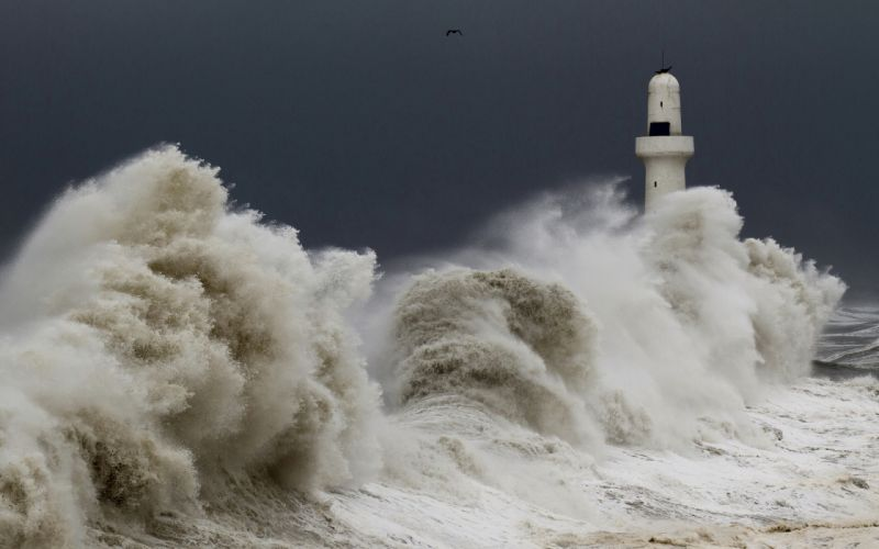 architecture buildings lighthouse ocean sea waves storm sky nature wallpaper