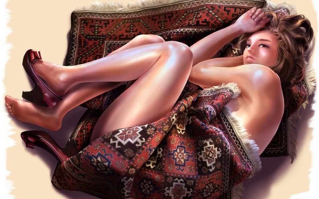 art women sexy babes mood brunettes fantasy legs face wallpaper