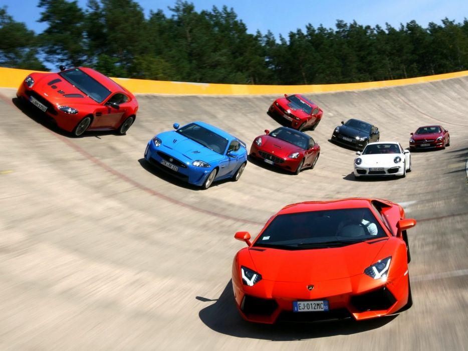 aston matrin jaguar Supercars Lamborgini porsche ferrari auto racing race track wallpaper
