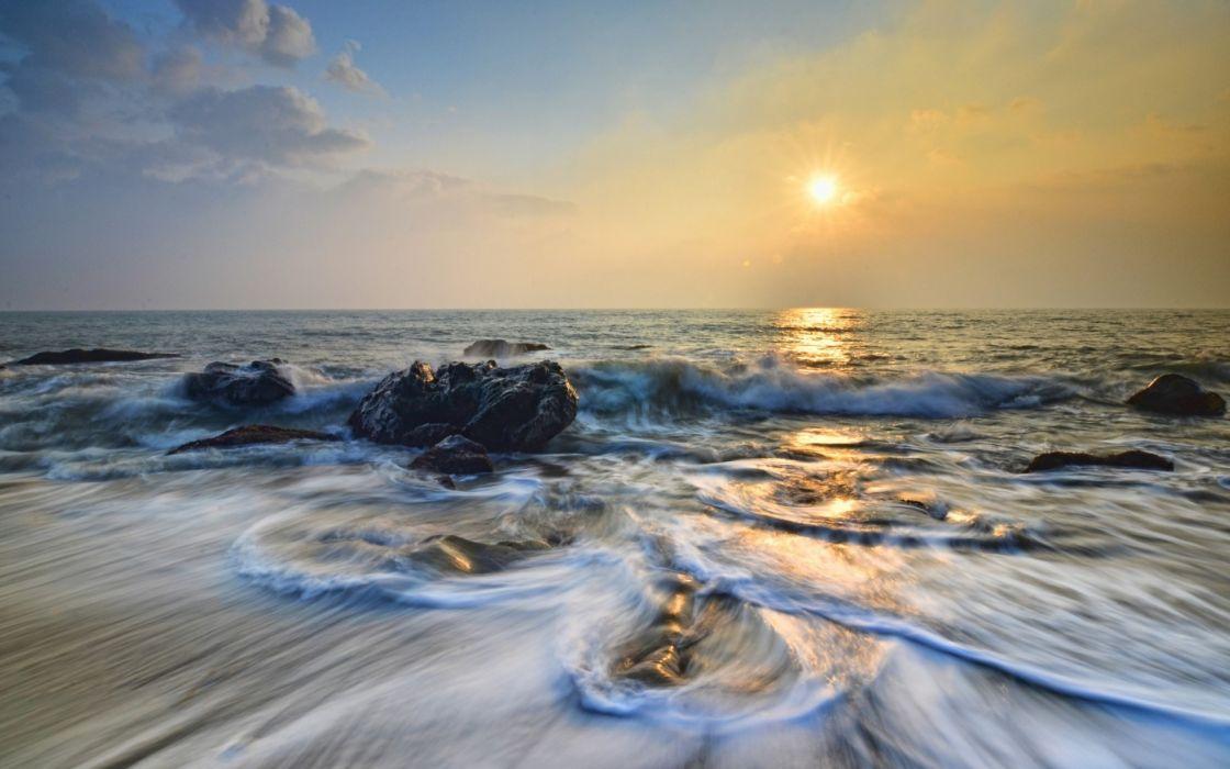 nature beaches waves ocean sea sky clouds sunrise sunset wallpaper