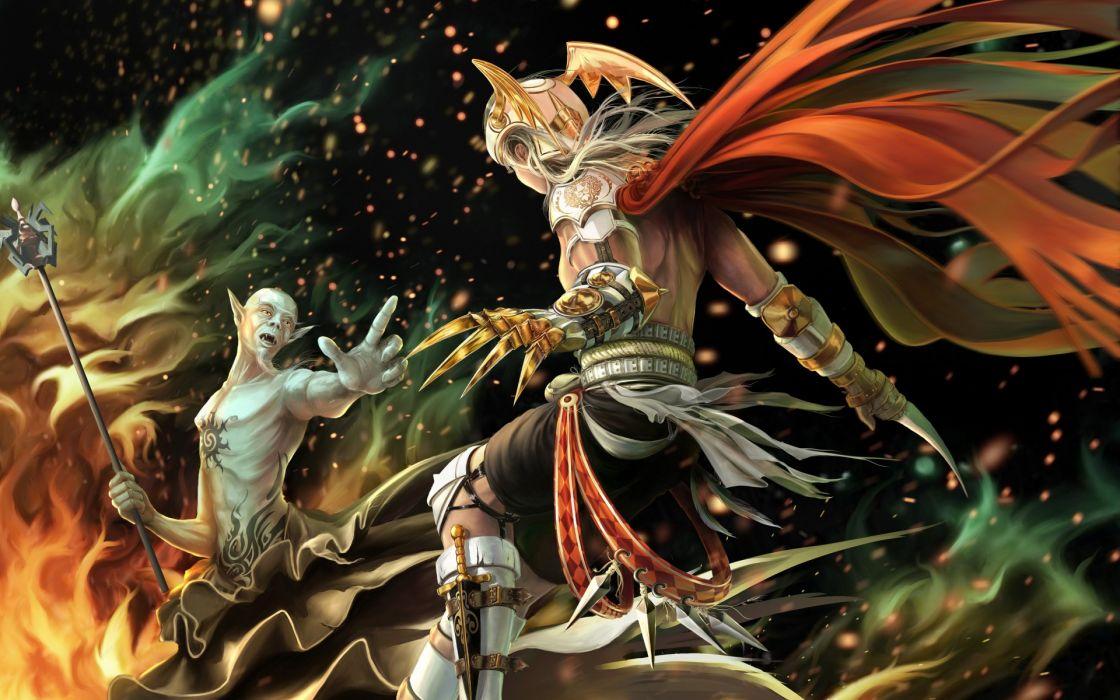 fantasy Magician magic fire girl armor weapons battle warriors wallpaper