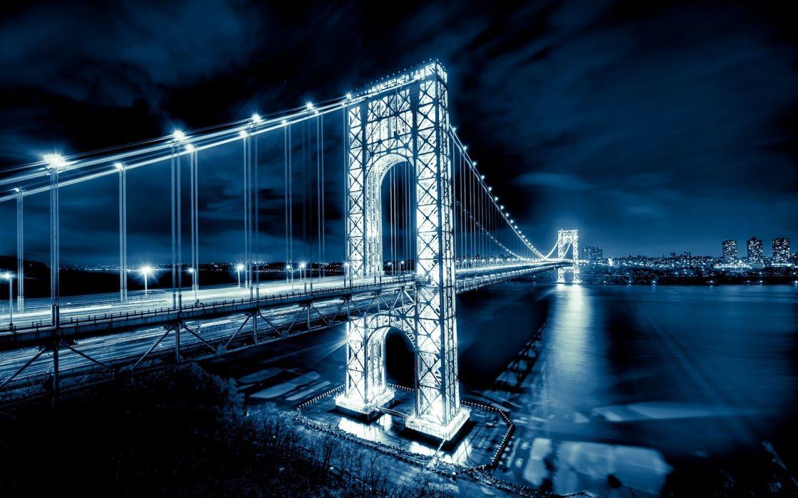 George Washington Bridge new Jersey Manhattan architecture bridges rivers cities night lights buildings wallpaper