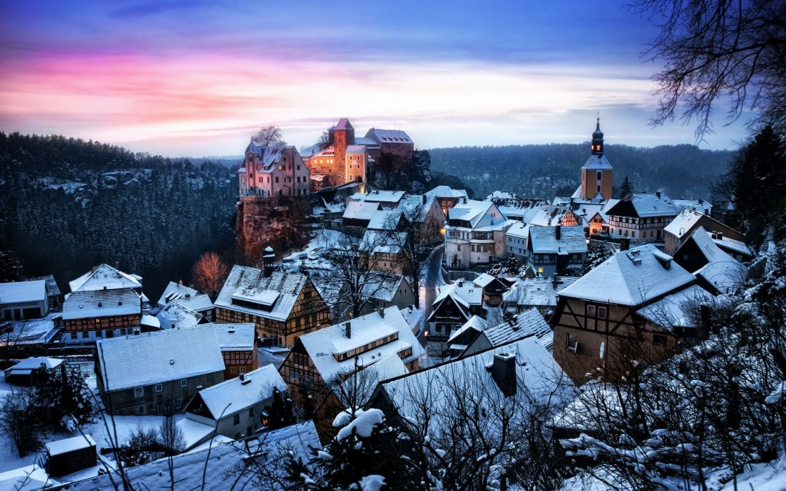 Germany Saxony Honshtayn castle fort architecture cities sky sunset sunrise winter snow buildings mountains wallpaper