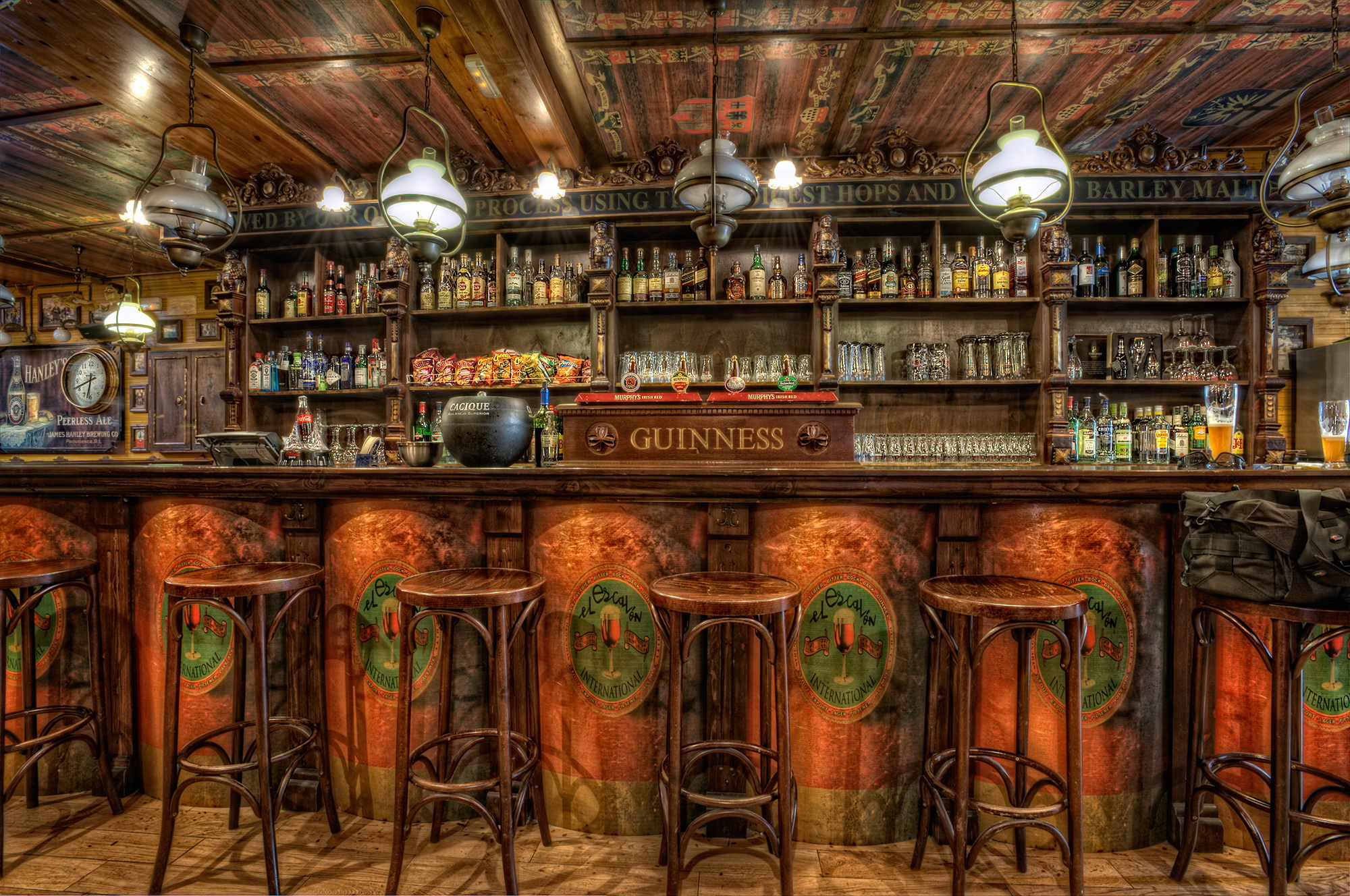 Interior Chairs Ceiling HDR Design Wooden Bar room
