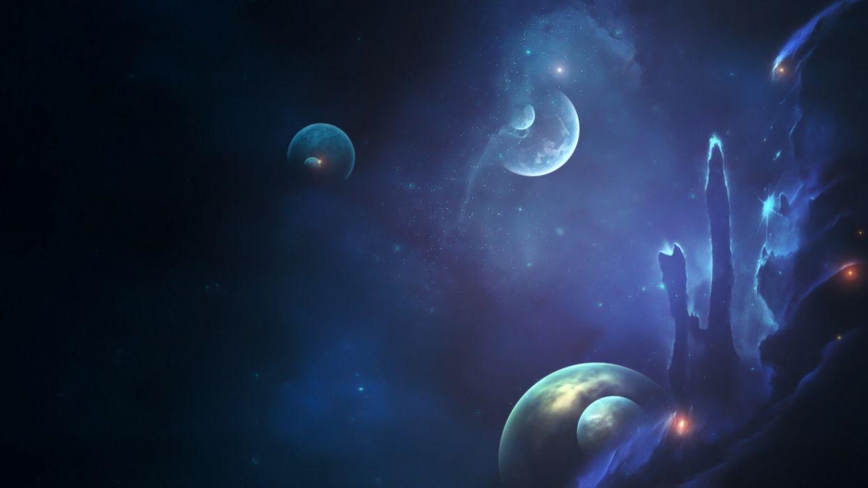 space sci-fi art cg digital outer nebula stars planets wallpaper