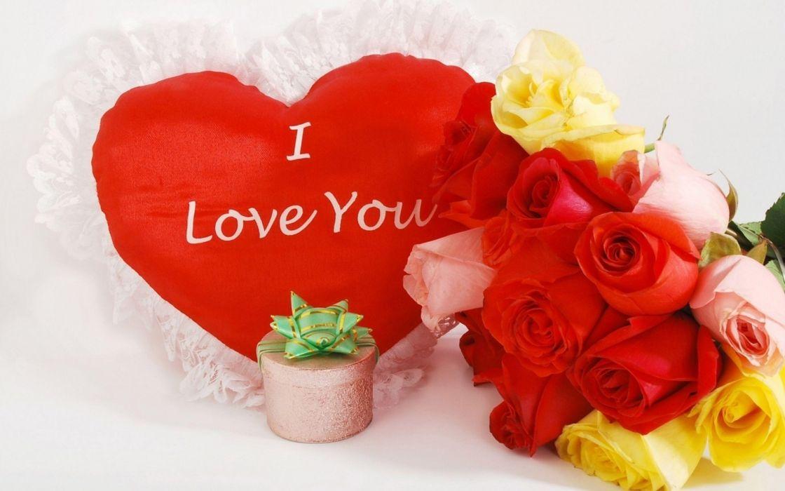 Valentine's Day love romance flowers roses heart wallpaper