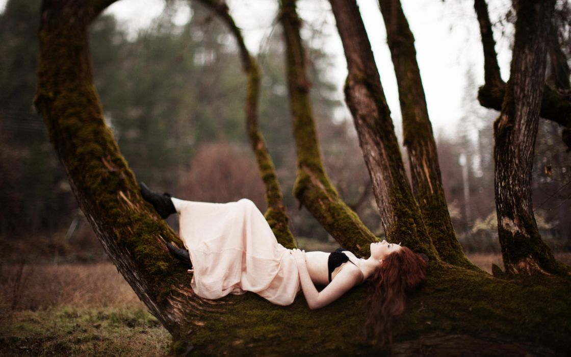 women mood models redhead sexy babes nature trees forest wallpaper