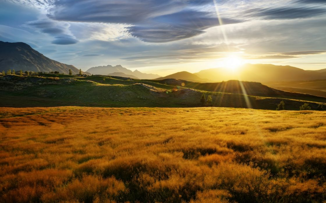 nature landscapes meadow fields mountains sky clouds sunset sunrise wallpaper