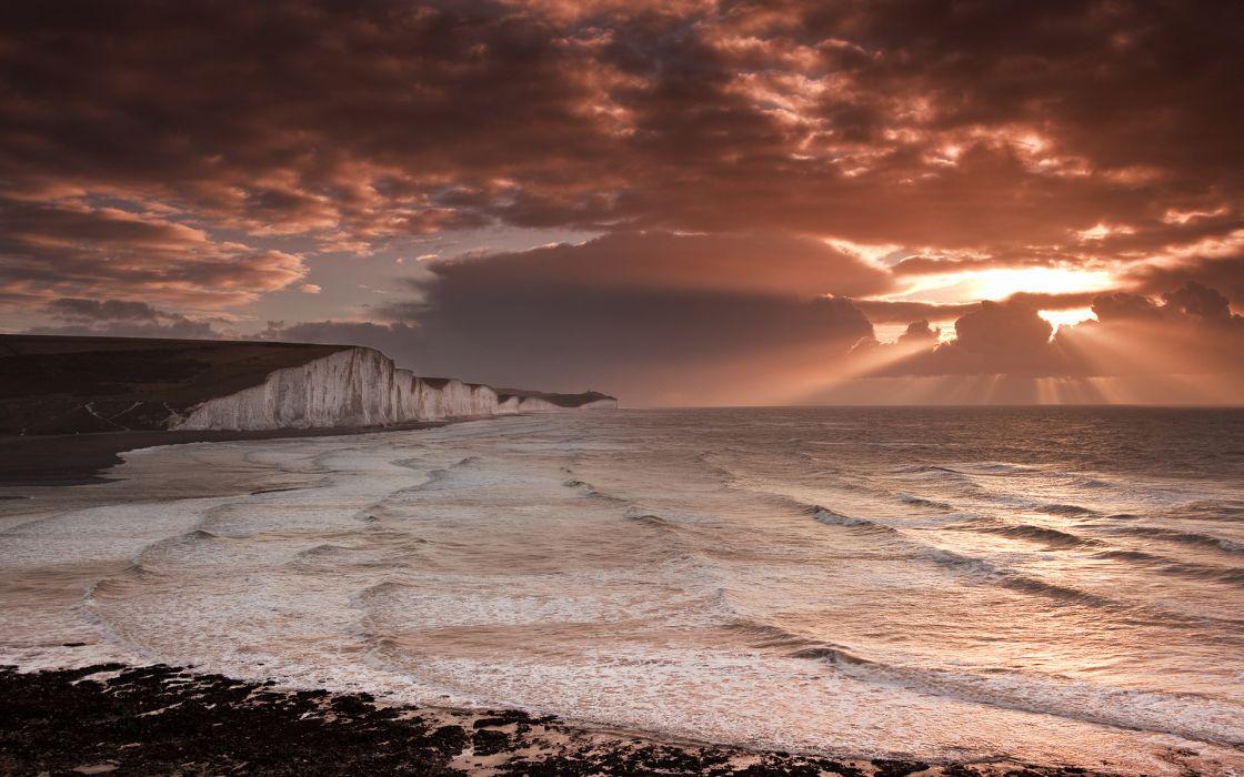 nature landscapes ocean sea sky clouds sunset sunrise waves cliff coast shore beaches wallpaper