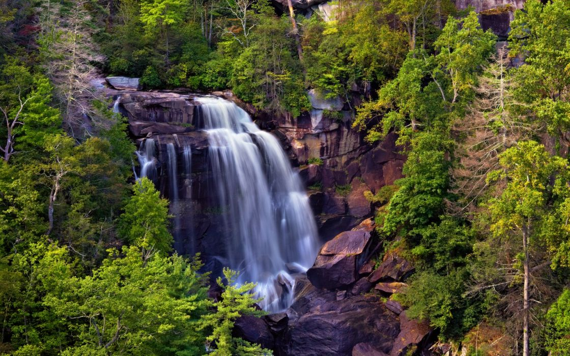 nature landscapes trees forest woods rivers waterfall cliff mountains wallpaper