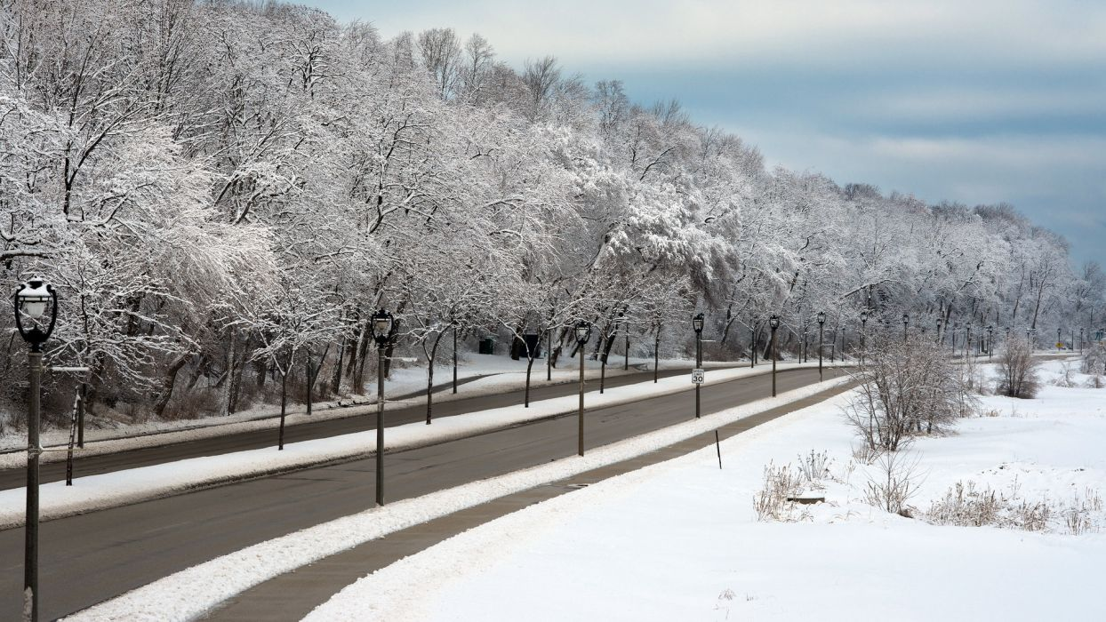 nature landscapes winter snow trees roads lamp post sky clouds wallpaper