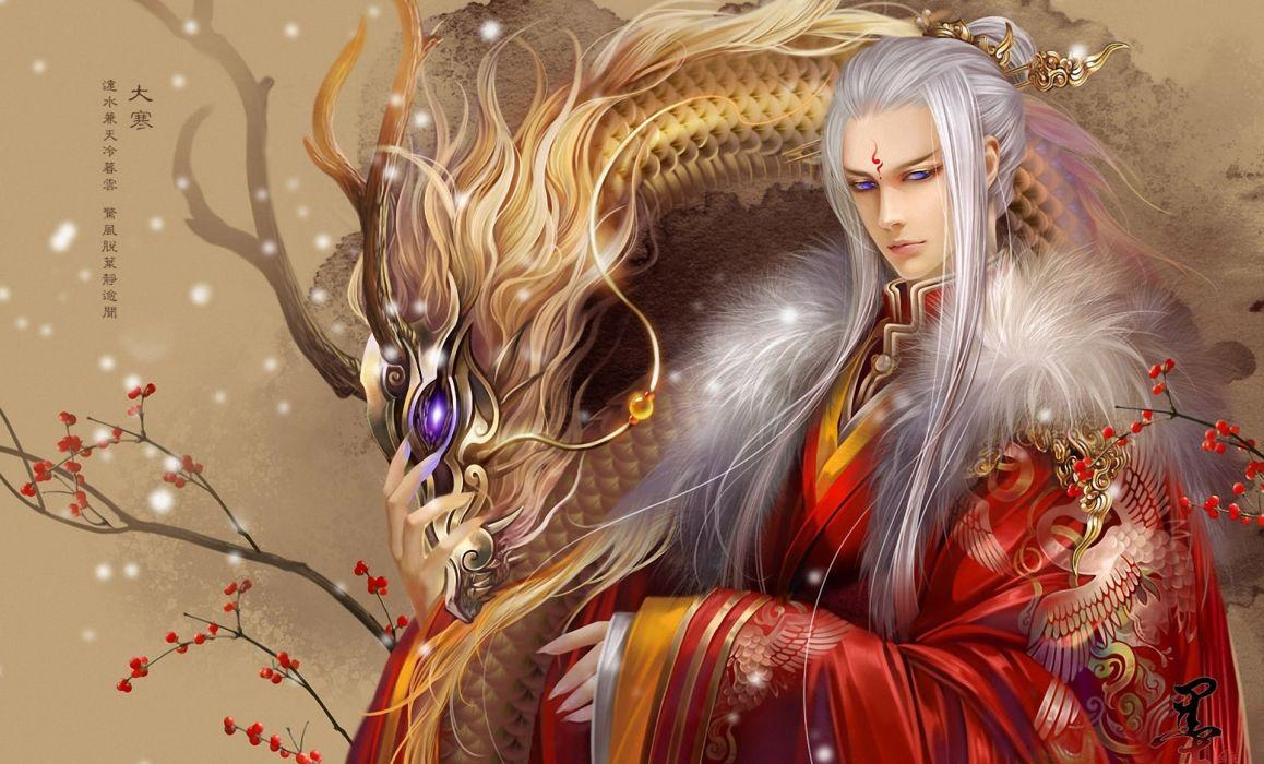 original anime asian oriental fantasy dragons men males boy wallpaper