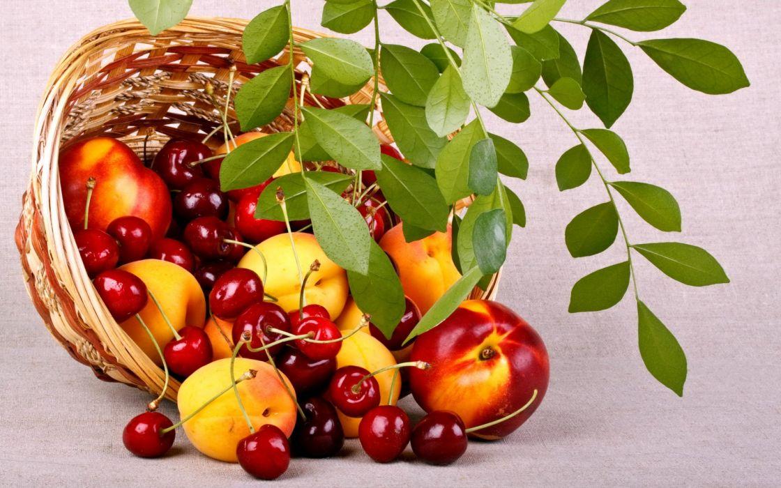fruits berries food peaches cherries basket leaves wallpaper