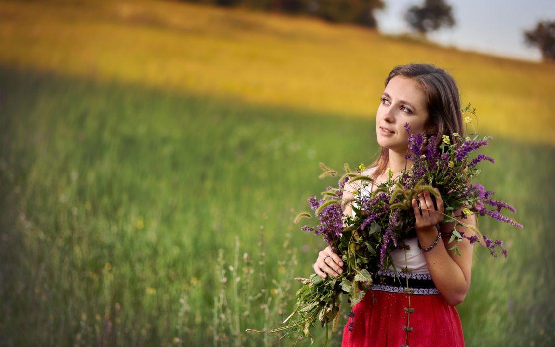 mood flowers women models females girl babes brunettes face field wallpaper